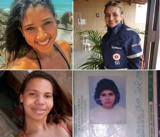 Mykaella Ruanna Pereira Fagundes, de 21 anos, Josefa Ferreira da Silva, de 46, Franciscris Silva Fernandes, de 24, e Josefa Ferreira da Silva, de 41, foram assassinadas nos últimos dias no RN (Foto: Arquivo Pessoal)