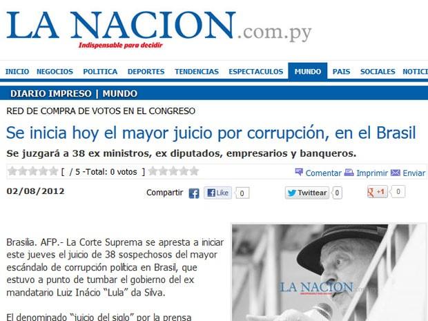O jornal 'La Nación' do Paraguay apresenta uma                                                           foto de Lula                                                           na reportagem                                                           e destaca que                                                           entre os réus                                                           estão                                                           ex-ministros,                                                           ex-deputados,                                                           empresários e                                                           banqueiros                                                           (Foto:                                                           Reprodução)
