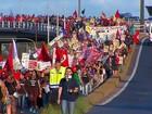 Mulheres protestam contra a reforma da Previdência no interior do RS