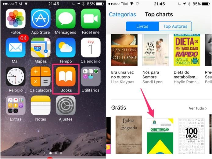 Acesse o iBooks e procure pela Constituição Federal (Foto: Reprodução/Lucas Mendes)