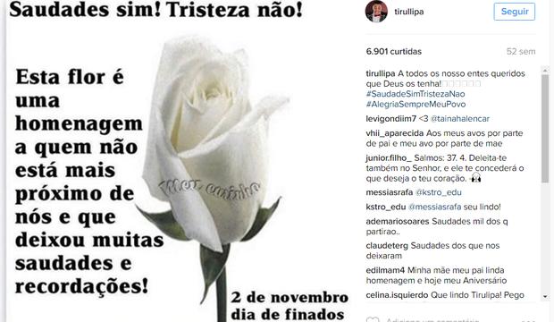 Famosos postam sobre o Dia de Finados (Foto: Reprodução/Instagram)