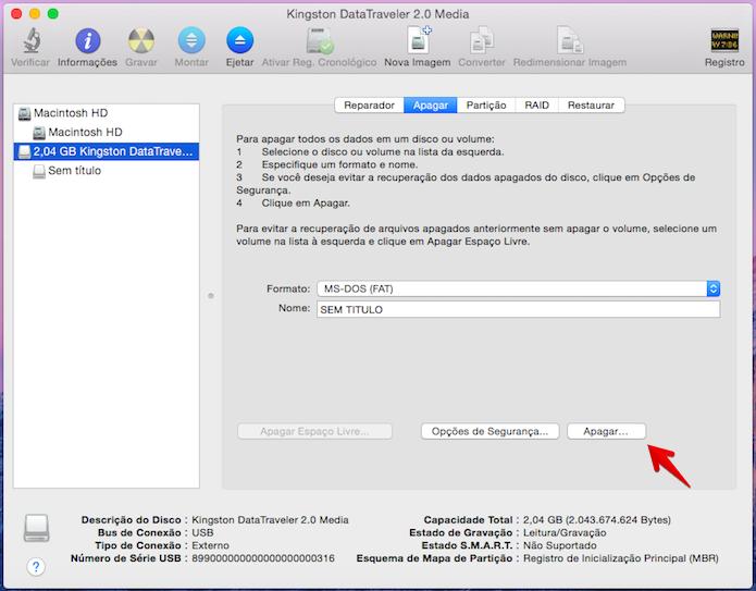 Formatando pen drive no Mac OS X (Foto: Reprodução/Helito Bijora)
