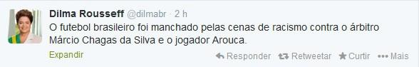 No Twitter, Dilma condenou atos de racismo contra atleta do Santos e árbitro do Rio Grande do Sul (Foto: Reprodução)