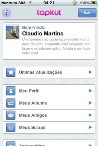 Tapkut fornecia acesso fácil às funções do Orkut direto do iPhone (Foto: Reprodução/Google)