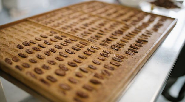 Amêndoas de chocolate em análise no laboratório (Foto: Divulgação/Ana Lee)