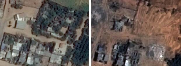 Antes e depois de área em Beit Lahia, na Faixa de Gaza, mostra destruição causada por guerra de Israel e Hamas.  (Foto: Unosat/United Institute for Training and Research)