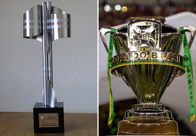 montagem taças Brasileirão e Copa do Brasil (Foto: Editoria de Arte)