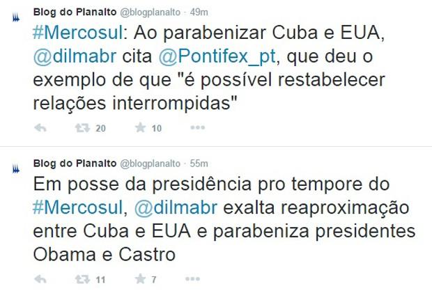 Tuíte da conta do Palácio do Planalto com declaração de Dilma sobre a reaproximação de Cuba e EUA (Foto: Reprodução/G1)