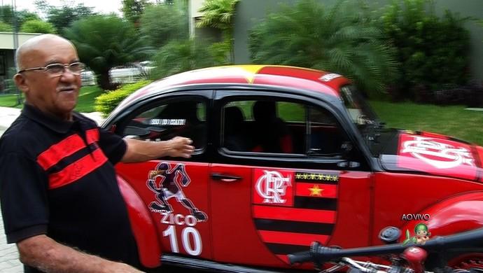 Torcedor do Fla quer entregar fusca a Zico na despedida de Ronaldo Angelim (Foto: Reprodução/ TV Verdes Mares )
