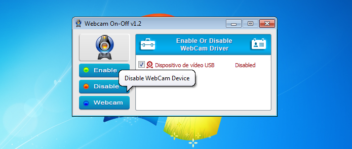 Desligando a webcam com o WebCam On-Off (Foto: Reprodução/Edivaldo Brito)