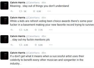 Calvin Harris critica Zayn Malik em série de tuítes nesta segunda-feira (Foto: Reprodução / Twitter)
