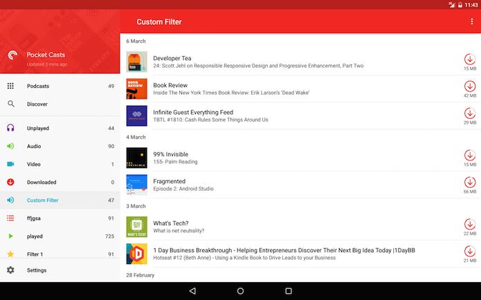 Além do visual reformulado, o Pocket Casts 5.0 ganhou muitas novas ferramentas (Foto: Reprodução/Google Play)