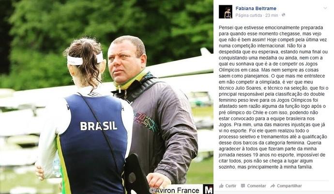 Fabiana Beltrame remo post desabafo (Foto: Reprodução Facebook)