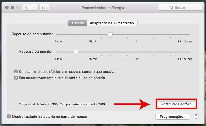 Restaurando configurações no Mac (Reprodução/Daniele Starck)
