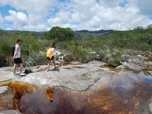 Chegada pela parte de cima da Cachoeira do Crioulo (Foto: Pedro Costa)