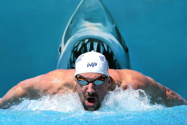 Montagem com o campeão Michael Phelps e cartaz do filme 'Tubarão' (Foto: Getty Images/Divulgação)