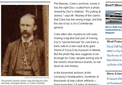 Foto apresentada no Wall Street Journal como sendo a do verdadeiro inventor da Coca-Cola (Foto: Reprodução)
