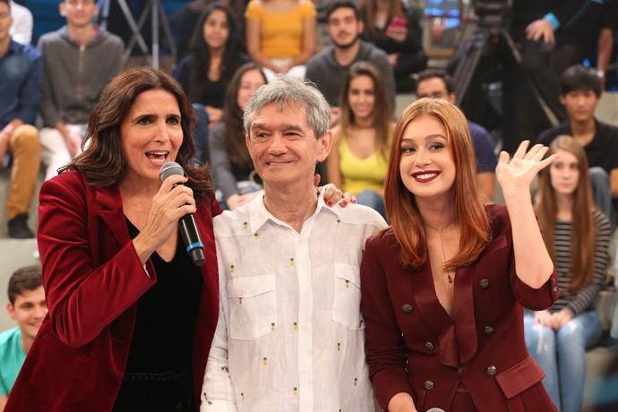 Marina posa com Serginho e Malu Mader (Foto: Carol Caminha/Gshow)