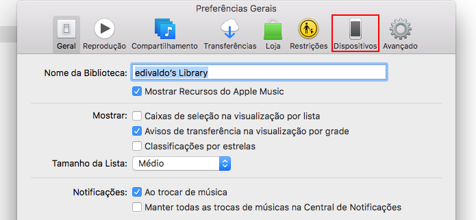 Acessando a guia Dispositivos nas preferências do iTunes (Foto: Reprodução/Edivaldo Brito)