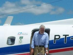 Avião do governador precisou fazer pouso forçado no aeroporto de Brumado (Foto: Lay Amorim/Site Brumado Notícias)