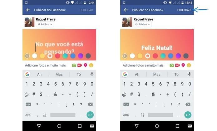 Criação de post do Facebook com fundo colorido em degradê (Foto: Reprodução/Raquel Freire)