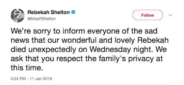 O tuíte anunciando a morte da celebridade brasileira Rebekah Shalton (Foto: Twitter)