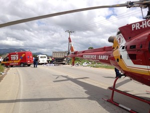 Quatro equipes dos bombeiros foram mobilizadas para atendimento (Foto: BOA/Divulgação)