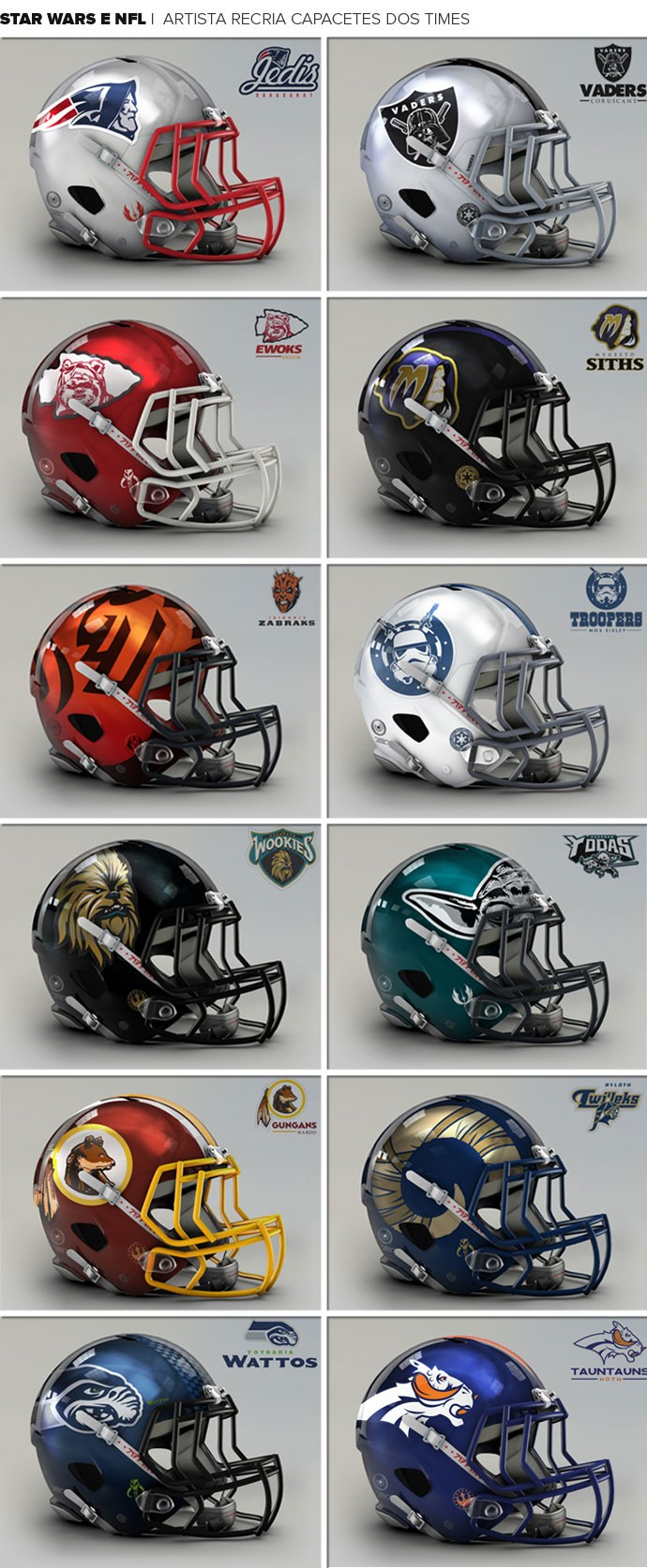 Mosaico capacetes NFL Starwars (Foto: Editoria de Arte)