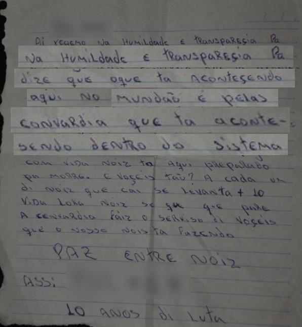 VALE ESTA Carta facção criminosa encontrada em Criciúma após ataque em ônibus (Foto: Divulgação/Polícia Civil)