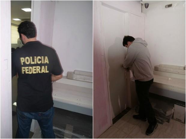 Polícia Federal na sede da Telexfree, em Vitória (Foto: Fiorella Gomes/ CBN Vitória)