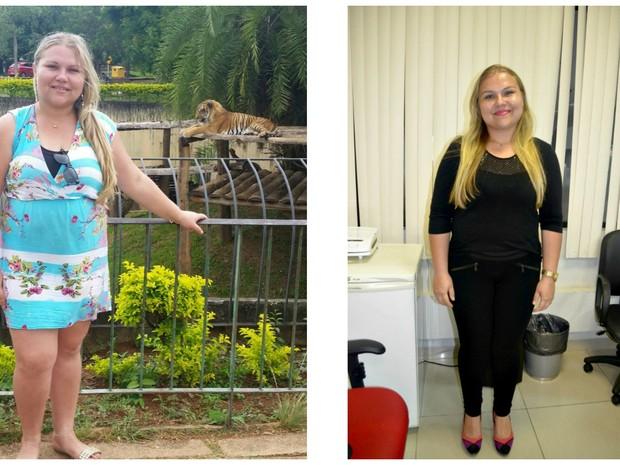 Simony chegou a pesar 103 quilos e diz que a reeducação alimentar já faz parte da sua vida  (Foto: Arquivo pessoal e Tácita Muniz/G1)
