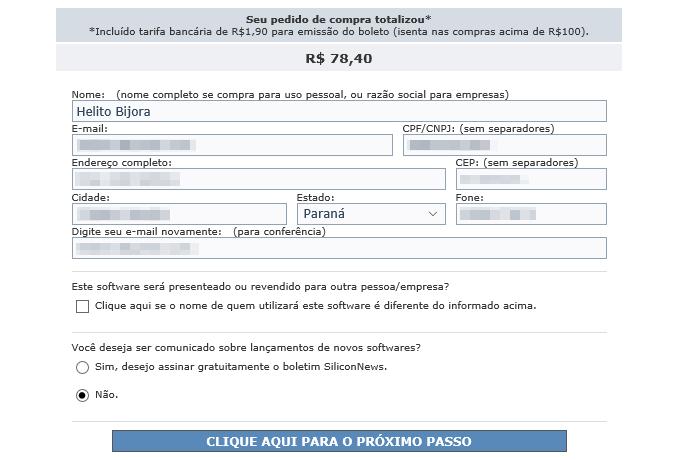 Preencha os seus dados pessoais para finalizar a compra (Foto: Reprodução/Helito Bijora)