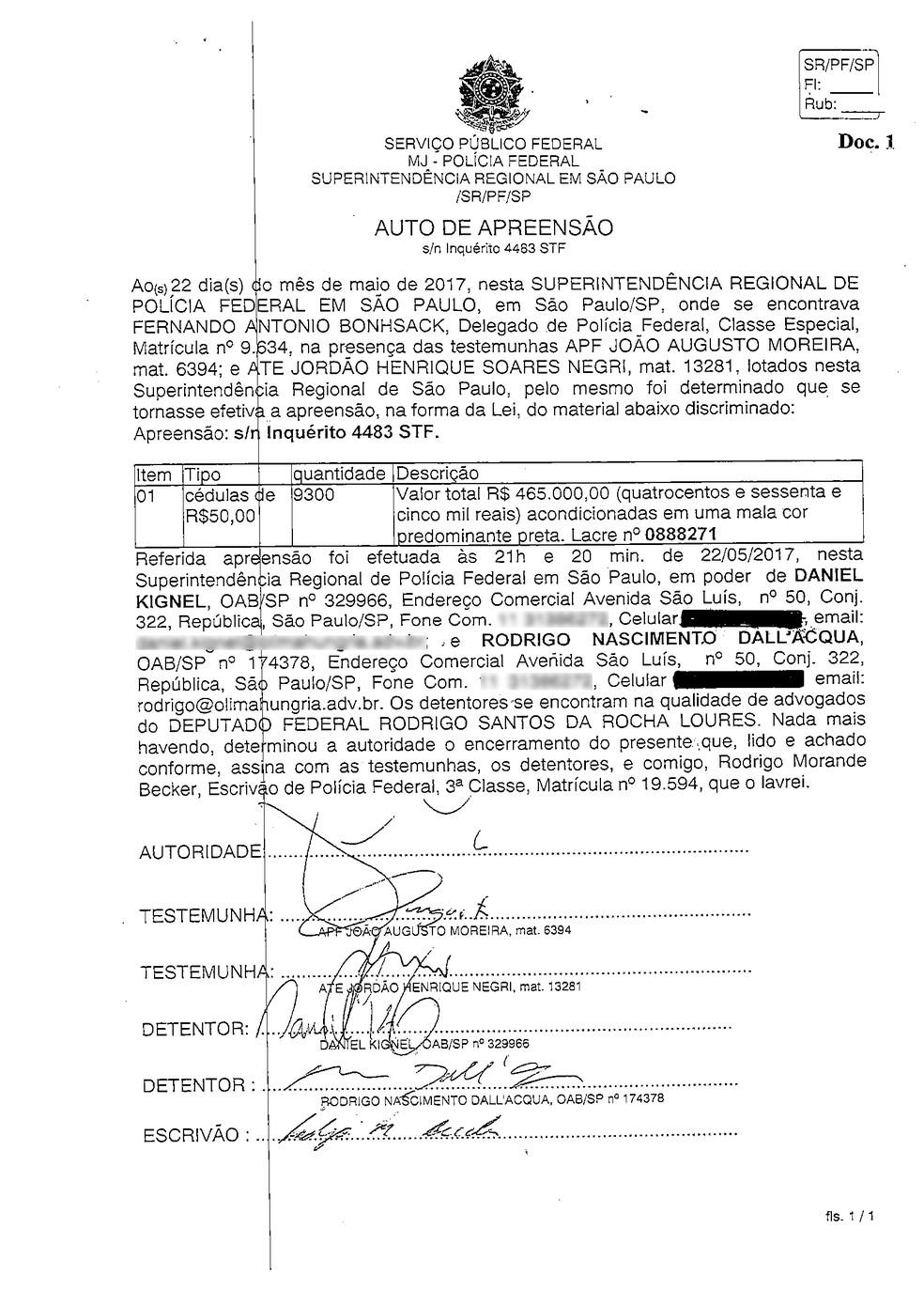 Auto de infração da Polícia Federal aponta que Rodrigo Rocha Loures entregou mala com R$ 465 mil (Foto: Reprodução)
