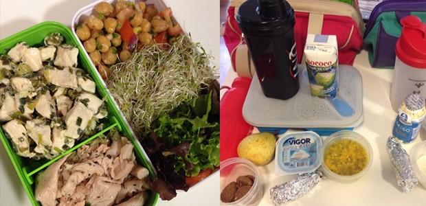 Imagens das lancheiras preparadas por Natalia Luglio. Ela prepara refeições práticas e saudáveis para comer durante o dia todo (Foto: Reprodução / Instagram)