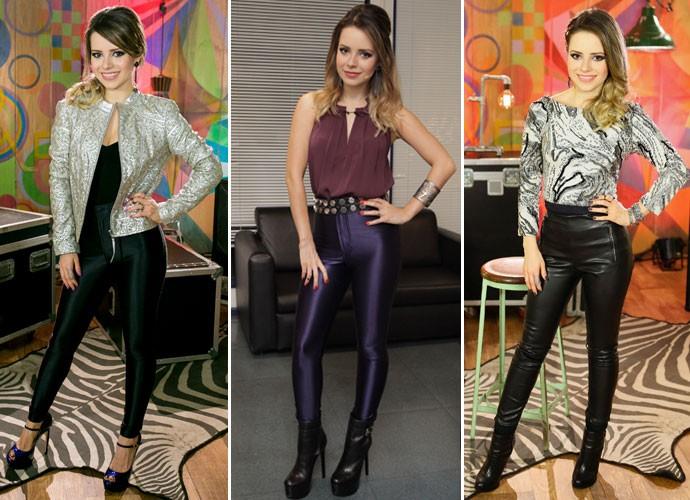 Para alongar a silhueta, Sandy dá preferência a calças skinny e peças escuras (Foto: Gshow/TV Globo)