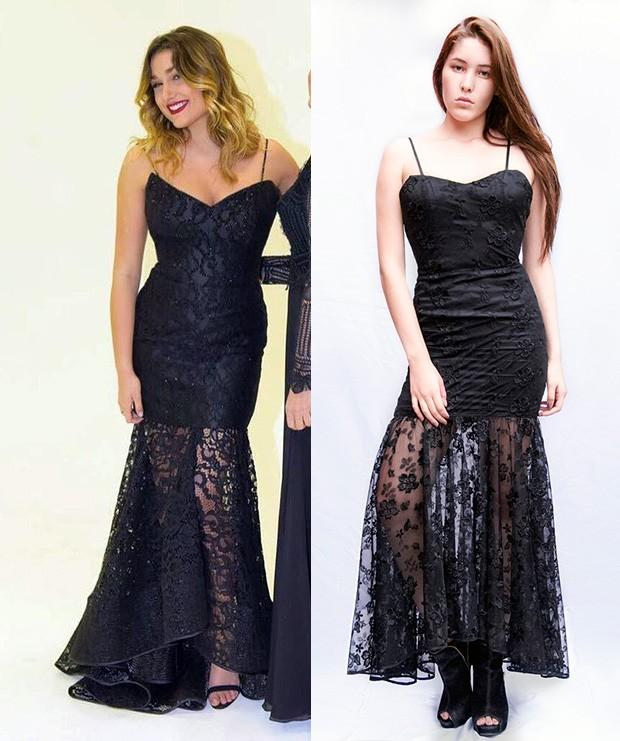 A modelo Carol Lopes com vestido inspirado no de Sasha Meneghel (Foto: Reprodução | Anderson Barros / EGO)