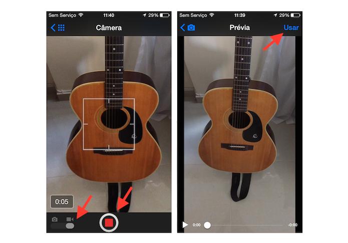 Gravando e usando um vídeo para uma publicação no Facebook em um dispositivo iOS (Foto: Reprodução/Marvin Costa)