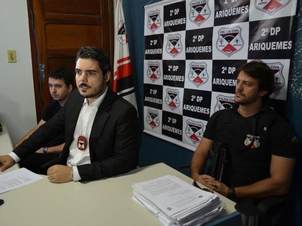 Delegados responsáveis pela Operação Thanatos (Foto: Diogo Menezes/TV Ariquemes)