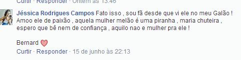 Fãs falando contra Melão em página dedicada ao jogador Bernard (Foto: Reprodução/Reprodução)