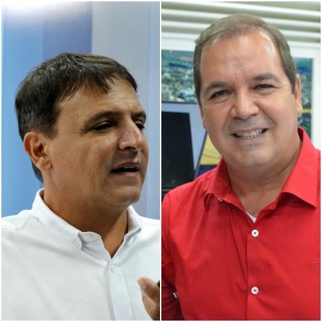 Marcio Bittar e Tião Viana avaliam debate na TV Acre (Foto: Yuri Marcel/G1)