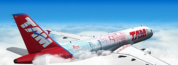Ilustração de como ficará o avião da TAM com imagens de clientes (Foto: Divulgação/TAM)