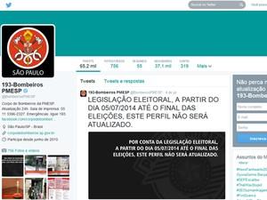 Twitter do Corpo de Bombeiros está sem atualizações (Foto: Reprodução/Twitter)