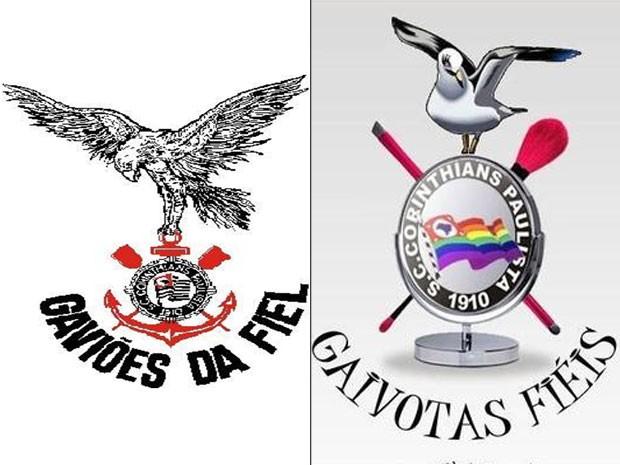 Símbolo da Gaivotas Fiéis (à esquerda) e da Gaviões da Fiel (à direita): maior torcida do Corinthians acusa a versão gay de plágio (Foto: Reprodução)
