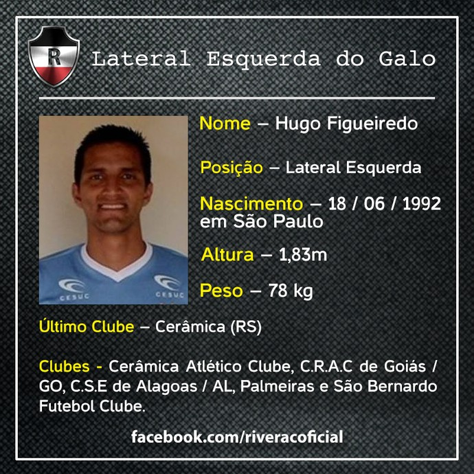 lateral Hugo Figueiredo, reforço do River-PI (Foto: Divulgação)