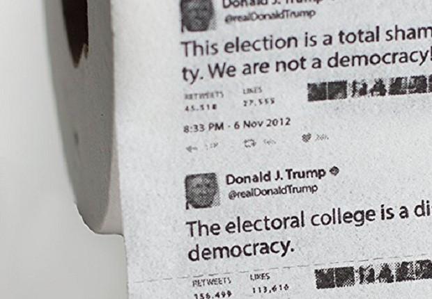 Papel higiênico com tuites de Donald Trump -  (Foto: Amazon)