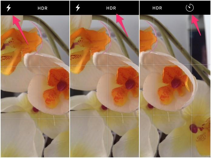 Ative o Flash, HDR ou Temporizador (Foto: Reprodução/Lucas Mendes)