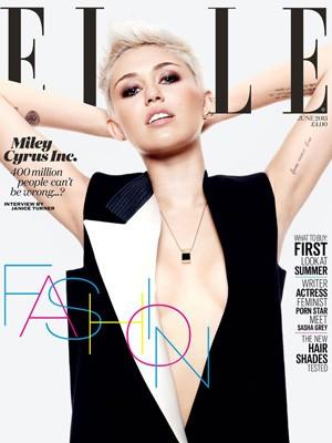 Miley Cyrus na capa da edição britânica da revista 'Elle' (Foto: Divulgação)