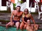 Susana Vieira curte piscina com Mateus Solano e Kiko Pissolato