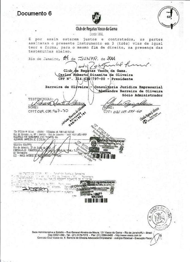 Documento Vasco 6 (Foto: GloboEsporte.com)