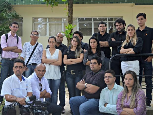 Jornalistas protestam pela morte de cinegrafista morto em manifestação do Rio de Janeiro  (Foto: Amanda Borges/G1)